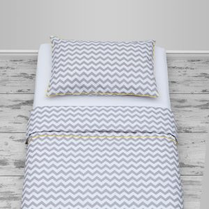 Grey chevron design with yellow piping