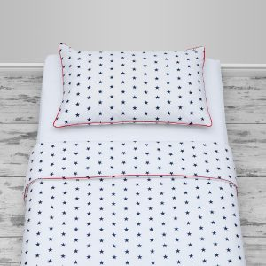 Navy stars design with red piping