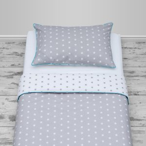 Grey & white stars design with blue piping