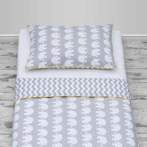 Grey elephants & chevron design with yellow piping