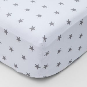 Grey stars design fitted sheet