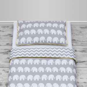 Grey elephants & chevron design with yellow piping, cot and cot bed size