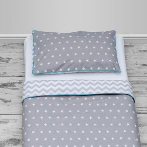 White stars on grey & grey chevron design with blue piping