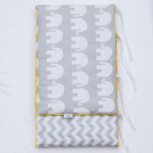 Grey elephant & chevron design bumper with yellow piping
