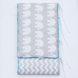 Grey elephant & chevron design bumper with blue piping