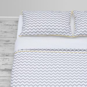Grey chevron & small polka dots  design with yellow  piping