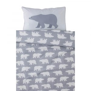 Grey Polar Bear design with silver piping