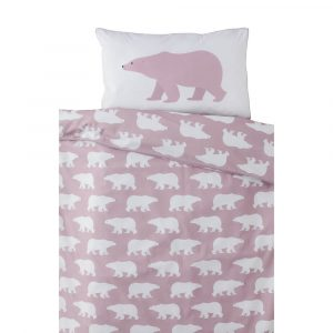 Polar Bear design in dusty pink with silver piping