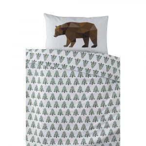 Bear in the Woods design with light grey piping
