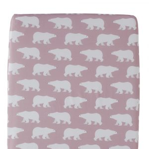 Polar Bear design Fitted Sheet in pink