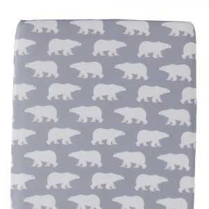 Polar Bear design Fitted Sheet in grey