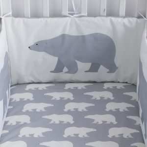 Polar Bear design bumper in grey with silver piping