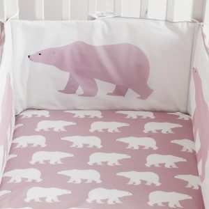 Polar Bear design bumper in dusty pink with silver piping